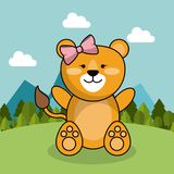 Cute lion girl bow adorable landscape natural. Vector illustration Stock Photography