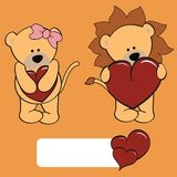 Cute lion girl and boy cartoon Royalty Free Stock Image
