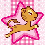 Cute lion girl on pink background Stock Image