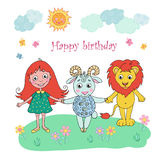 Cute lion, girl and sheep Stock Photography
