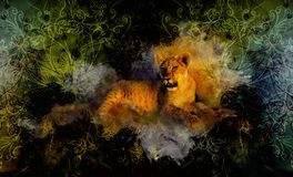 Cute lion and ornaments. Softly blurred watercolor background. Royalty Free Stock Photo