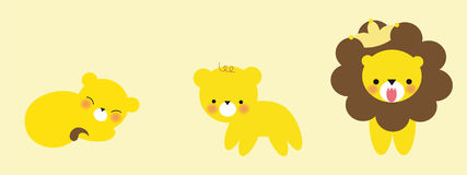Cute Lion Growing. Illustration of a cute lion growing into adulthood Stock Illustration