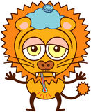 Cute lion with an ice pack and a thermometer feeling sad and sick Royalty Free Stock Photos