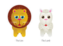 Cute Lion and Lamb Illustrations Stock Photography