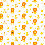 Cute lion and lioness seamless vector pattern. Royalty Free Stock Image