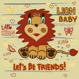 Cute Lion. Little Lion baby child drawing by hand on a striped background with heart and butterflies - vector Stock Image