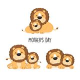 Cute lion mom and baby with different posing. royalty free illustration