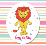Cute lion on multicolored background with stripes Stock Photography