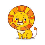Cute Lion sits on a white background. Stock Image