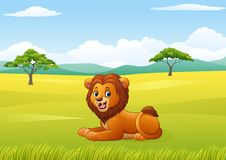 Cute lion sitting in jungle. Illustration of Cute lion sitting in jungle Royalty Free Stock Image
