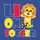 Cute lion soccer  cartoon illustration for kid t shirt design Royalty Free Stock Images