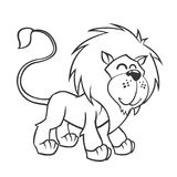 Cute lion. Vector illustration of cute cartoon lion character for children, coloring and scrap book. Outlined lion mascot Royalty Free Stock Images