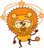 Cute lion walking unsteadily and feeling dizzy royalty free illustration