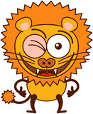 Cute lion winking and making thumbs up Royalty Free Stock Images
