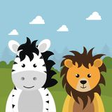 Cute lion and zebra in the field landscape character. Vector illustration design Stock Photography