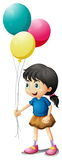 A cute litte girl holding balloons. Illustration of a cute litte girl holding balloons on a white background Royalty Free Stock Photography