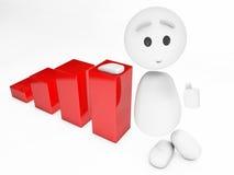 A cute little 3D happyman leans on a diagram. (3D happyman isolated series Stock Photos