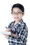 Cute little account boy with eye glasses isolate on white backgr Royalty Free Stock Photo