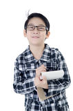 Cute little account boy with eye glasses isolate on white backgr Stock Photography