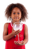 Cute little African Asian girl  drinking milk Royalty Free Stock Photo