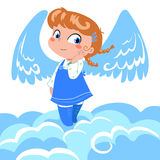 Cute little angel. A sweet little angel with big wings on the clouds royalty free illustration