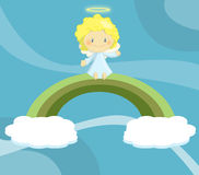 Cute little angel boy seated on rainbow. Illustration about a cute little angel boy seated on a rainbow hanged by two little clouds on deep blue violet sky Stock Images