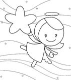Cute little angel girl. Illustration of a cute little angel floating in the sky holding a bright giant star on a very starry night Stock Photos