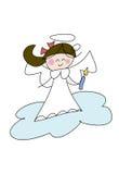 Cute little angel girl. Colorful cartoon (doodle) drawing of a cute little angel girl holding a candle Stock Photo