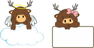 Cute little angel and girl deer baby cartoon copyspace Stock Photos