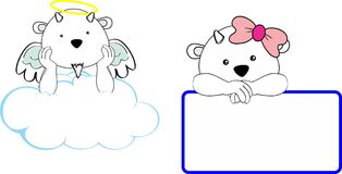 Cute little angel and girl goat baby cartoon copyspace Stock Photography
