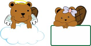 Cute little angel and girl beaver baby cartoon copyspace Stock Photography