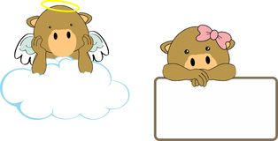 Cute little angel and girl camel baby cartoon copyspace Royalty Free Stock Photo