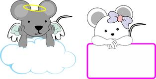 Cute little angel and girl mouse baby cartoon copyspace Royalty Free Stock Photo