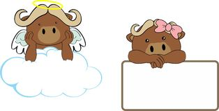 Cute little angel and girl oxen baby cartoon copyspace Stock Images