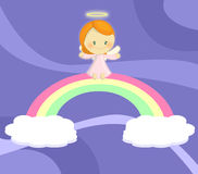Cute little angel girl seated on rainbow. Illustration about a cute little angel girl seated on a rainbow hanged by two little clouds on deep blue violet sky Royalty Free Stock Photos