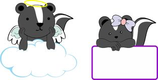 Cute little angel and girl skunk baby cartoon copyspace Royalty Free Stock Photography