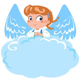 Cute little angel and cloud stock illustration