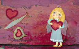 Free Cute Little Angel With Heart On A Grunge Red Wooden Painted Background. Image Drawn By Hand. St. Valentine Day Theme Royalty Free Stock Photo - 108094005