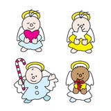 Cute little angels 2009 A. Stilized illustration of little angels with presents Stock Image