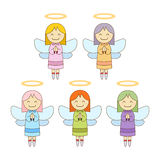 Cute Little Angels In Different Colour Stock Image