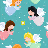 Cute little angels flying in the sky. Royalty Free Stock Photo