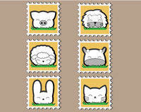 Cute little Animal Stamp set Royalty Free Stock Photo