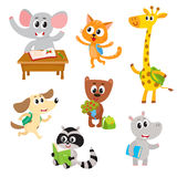 Cute little animal students, characters studying, reading, going to school Royalty Free Stock Photos