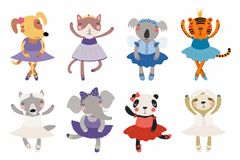 Cute little animals ballerinas set vector illustration