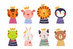 Cute little animals in crowns set stock illustration