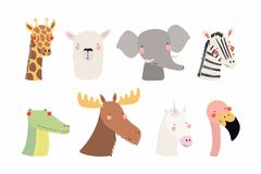 Cute little animals set. Set of cute funny animals unicorn, zebra, llama, flamingo, giraffe, moose, crocodile, elephant. Isolated objects on white . Vector Royalty Free Stock Image