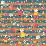 Cute little animals on striped background. Seamless vector pattern with funny foxes and cheerful cats. Autumn print for fabric stock illustration