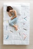 Cute little artist tired after drawing Stock Images