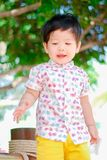 Cute little  Asian boy Happy smilling  in the park outdoors , Happy kids.  royalty free stock photo