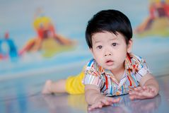 Cute little  Asian boy Happy smilling  in the park outdoors , Happy kids.  royalty free stock photography